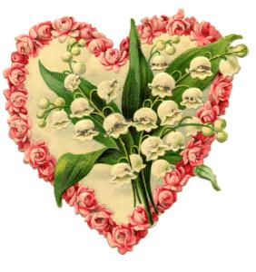 Heartfelt thanks coral flower heart