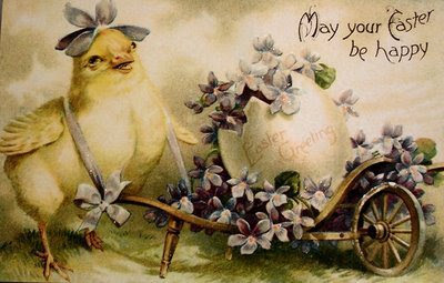Victorian Easter card with chick and egg