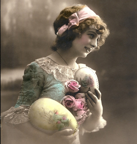 Young Victorian girl with Easter eggs