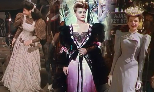 "Virginia O'Brien, Angela Lansbury, and Judy Garland in ""The Harvey Girls."""
