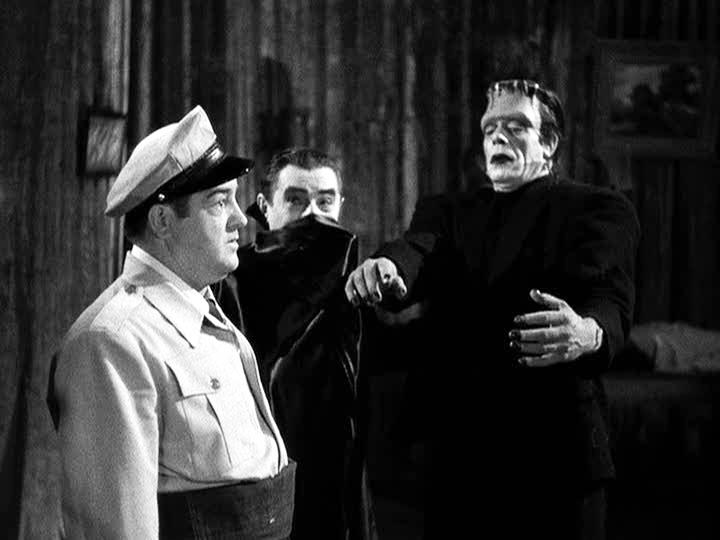 Family Halloween fun movie still - Abbott and Costeello Meet Frankenstein