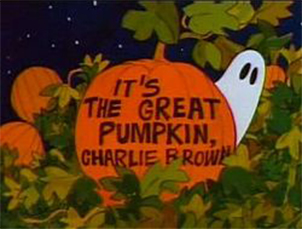 animated Halloween classic - It's the Great Pumpkin, Charlie Brown title card