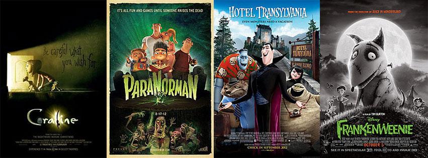 animated Halloween classics - Coraline, ParaNorman, Hotel Transylvania, Frankenweenie