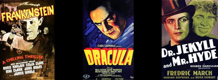 halloween classic movie stories posters - Frankenstein, Dracula, Doctor Jekyll and Mr. Hyde