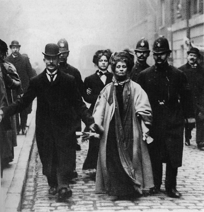 Emmeline Pankhurst getting arrested
