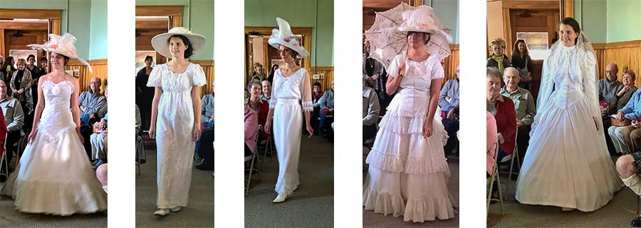 Recollections fashion show models in white dresses