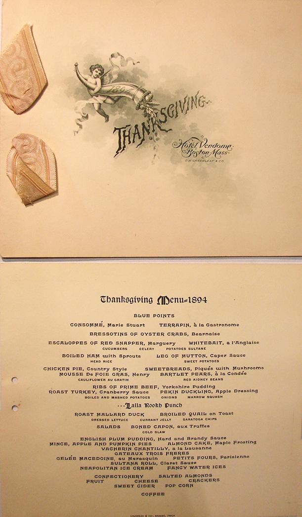 1894 Hotel Vendome Thanksgiving menu