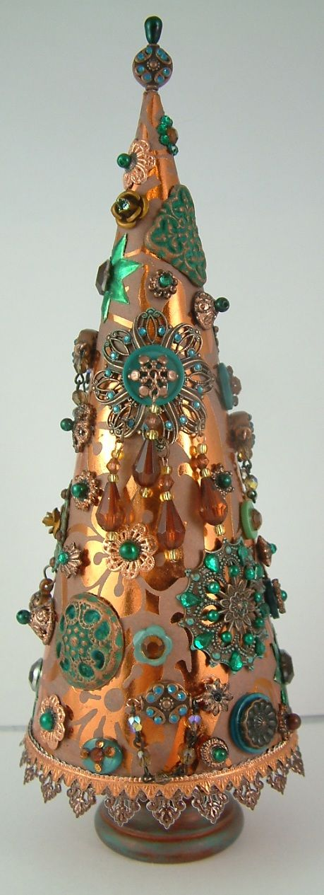 Steampunk craft Christmas tree with embellishments
