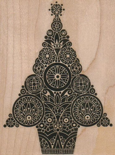 Wood block stamp Steampunk Chrismtas tree