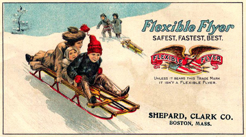 Flexible Flyer sticker ad from 1906