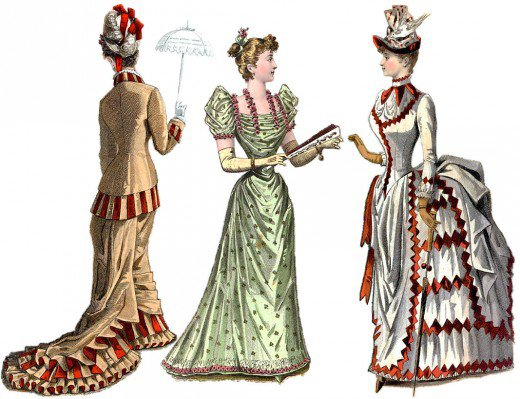 1880s bustle and train dresses