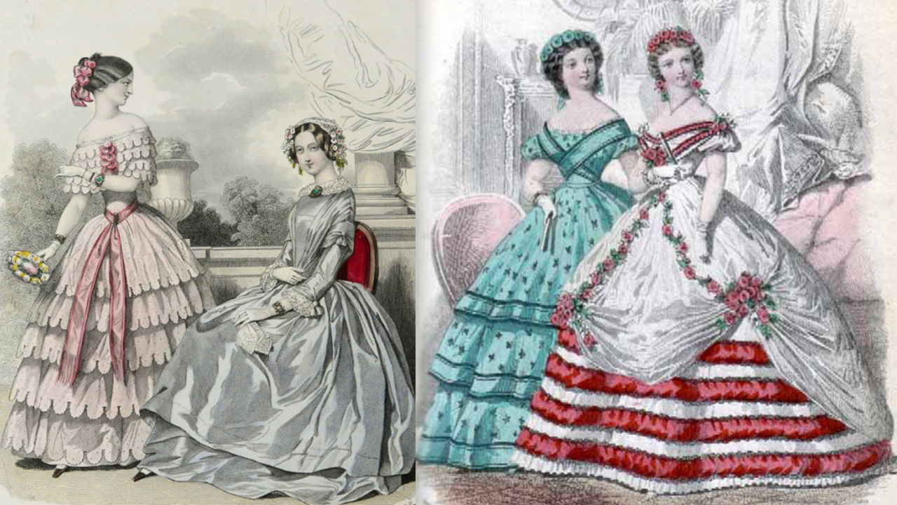 skirts shaped with petticoats and cage crinoline