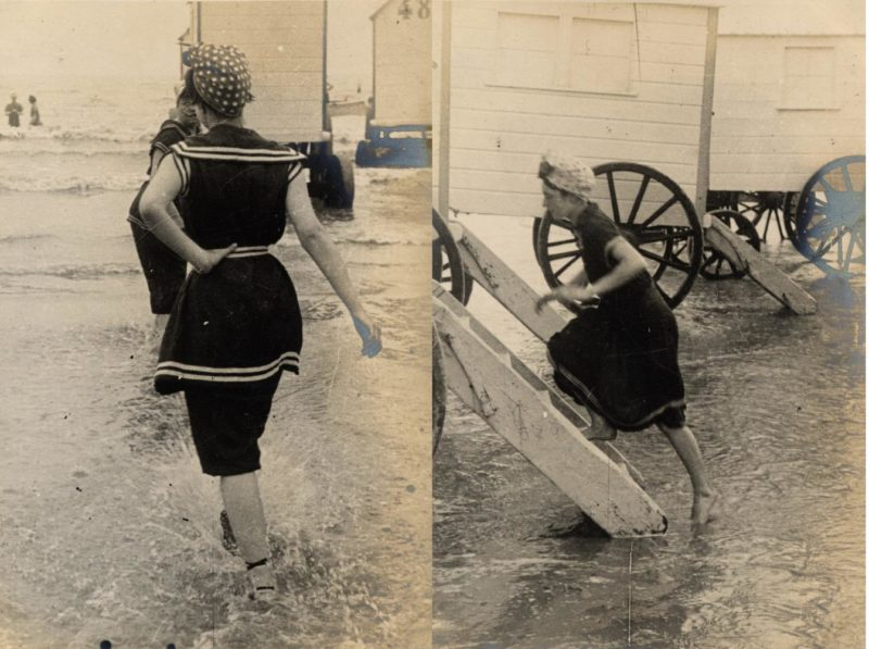 Victorian women at the seaside using a bathing maching