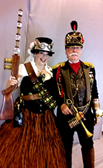 Dale and Joyce steampunk costumes at costume college 2016