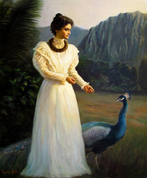 Princess Ka'iulani with one of her prized peacocks
