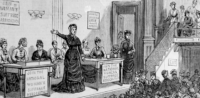 women's suffrage meeting illustration