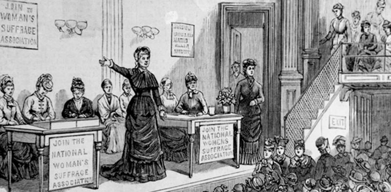 women's suffrage meeting illustration