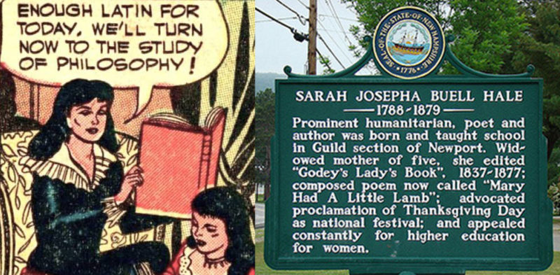 Sarah Josepha Hale cartoon about girls' education, historical marker
