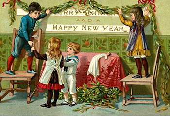New Year caption Greetings 2017 contest - kids decorating