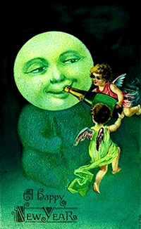 New Year Greetings 2017 caption contest - cherubs give champagne to the moon