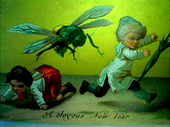 New Year Greetings 2017 caption contest - kids run from the bee
