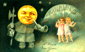 New Year Greetings 2017 caption contest - moon and cherubs