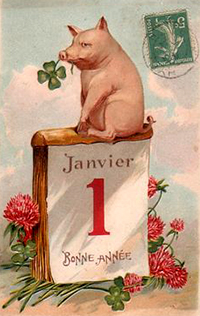 New Year Greetings 2017 caption contest - pig with clover on day calendar