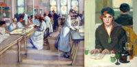 American Impressionist, Jane Peterson Red Cross painting and woman in a cafe painting