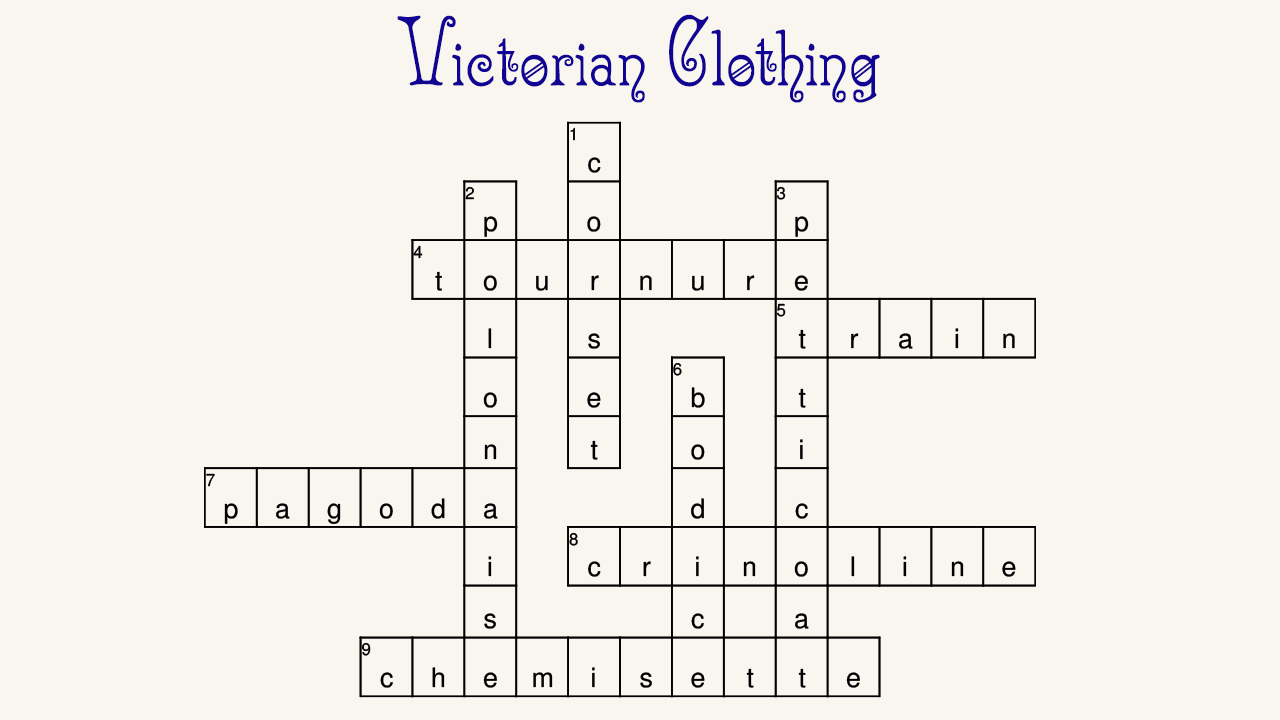 Victorian Clothing Crossword Game Winners Recollections Blog