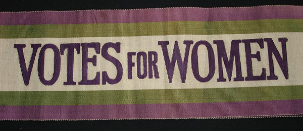 purple, green, and white suffrage sash