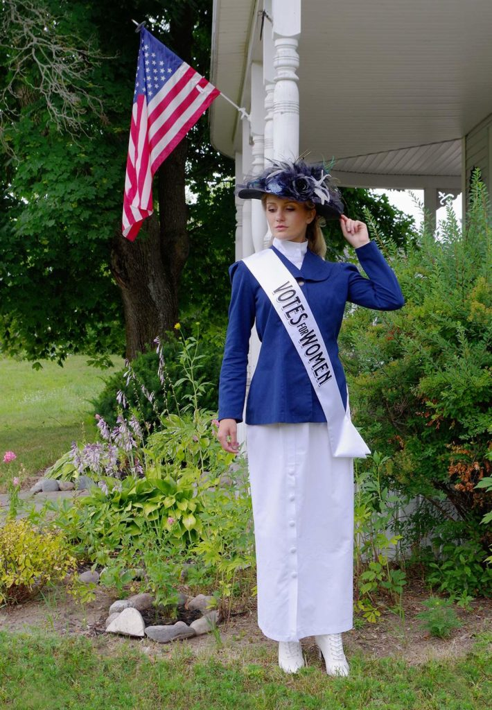 women's suffrage sash in white satin