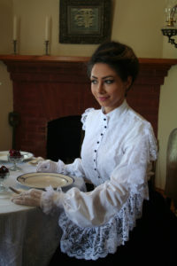 Beautiful fancy blouse at the holiday dinner table