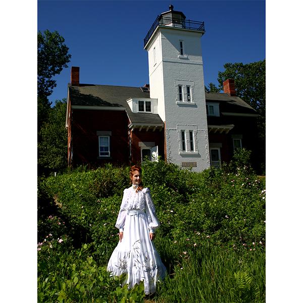 Bella Edwardian dress at 40 Mile Point Lighthouse