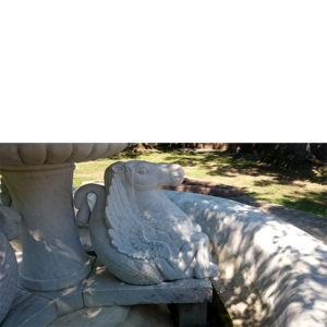 Marble fountain detail on the estate of Catholina Lambert