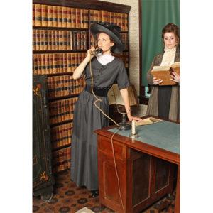 Agnes Charcoal Pinstripe Edwardian Dress