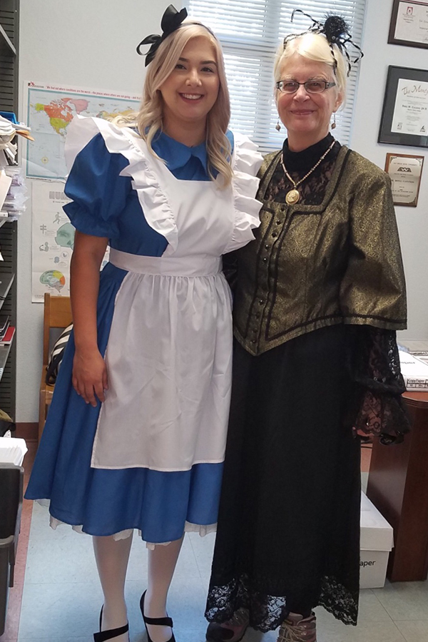 "Jeanette S. with colleague ""Alice in Wonderland"""