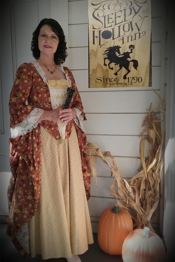 Halloween 2018 Photo Contest entry, Renee E. wearing our Abigail Revolutionary Gown