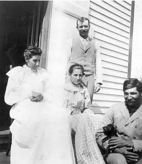 Susan La Flesche Picotte, her sister and their husbands, brothers Charles and Henry Picotte in the early 1900s.