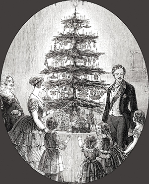 Queen Victoria and family around a decorated Christmas tree