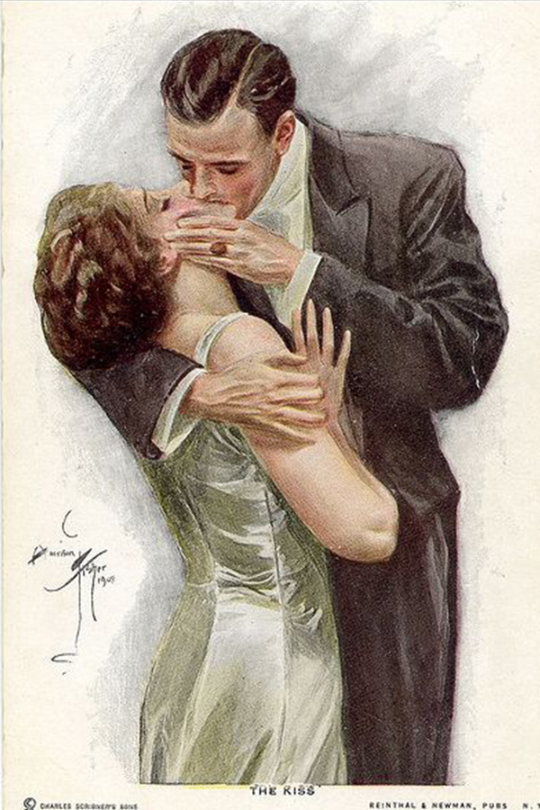Harrison Fisher illustration of couple kissing in an embrace