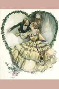 Harrison Fisher illustration of wedding couple inside green vine heart