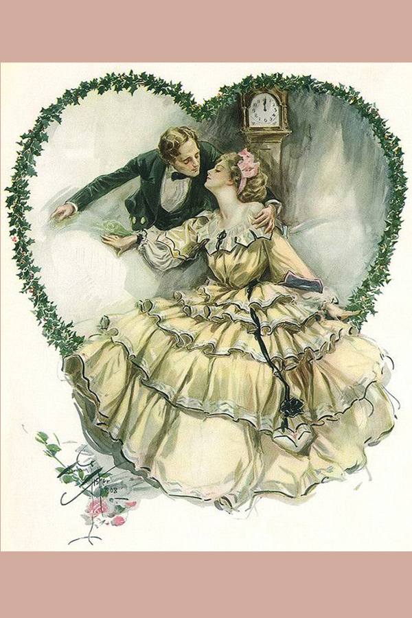 Harrison Fisher illustration of wedding couple inside green vine heart