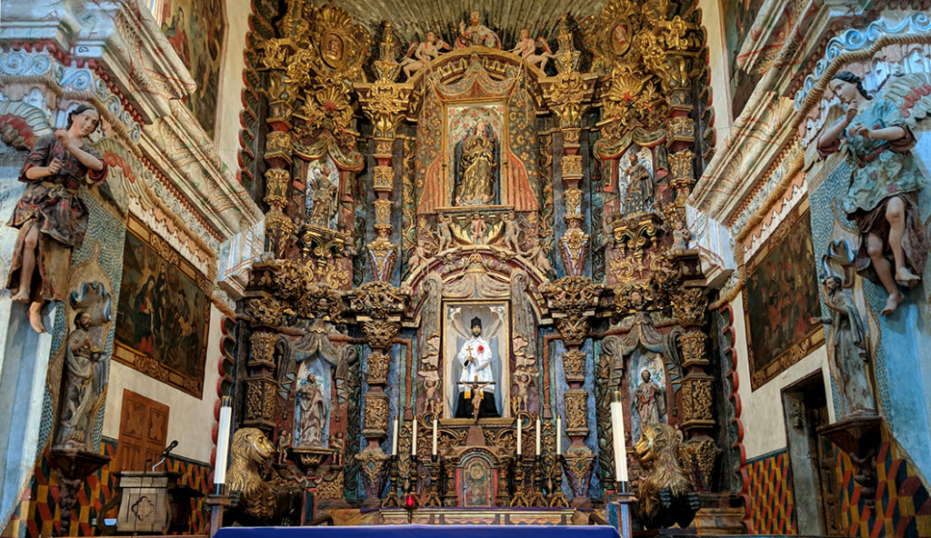 The altar at the San Xavier Mission