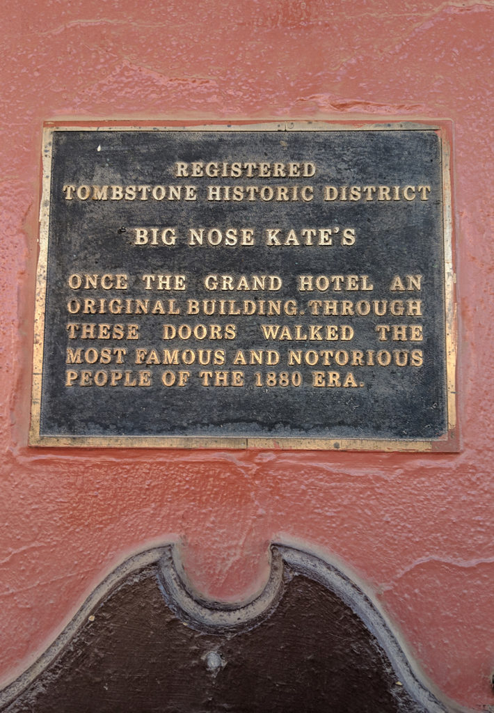 Plaque commemorating Big Nose Kate's