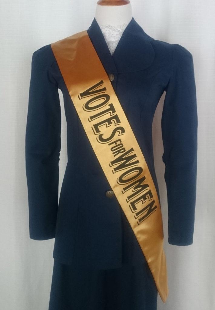 Women's Suffrage Sash with Slogan - gold satin