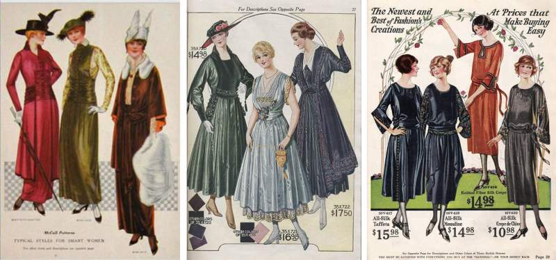 Illustrations of fashions from 1914, 1916, and 1918