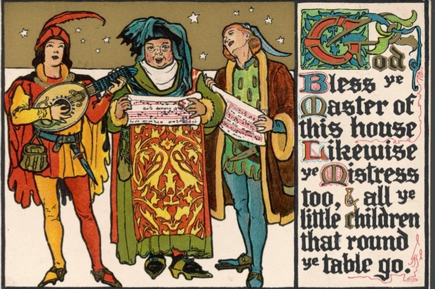 Medieval caroling illustraion