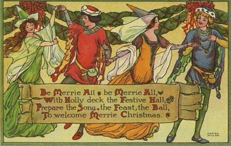 Medieval illustration of a Christmas Carol