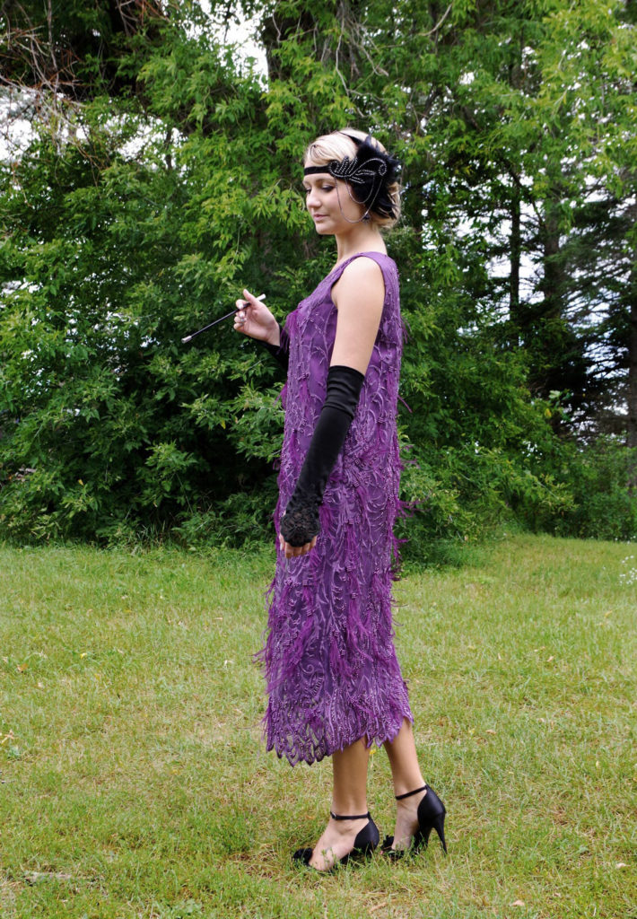 Cleo Roaring 20's Purple Beaded Feather Flapper Dress