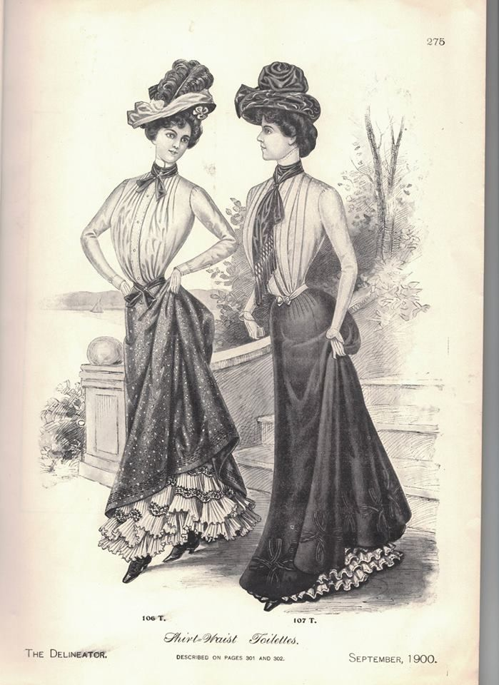 Fashion plate of two Edwardian women wearing large hats and a perfect S-silhouette.